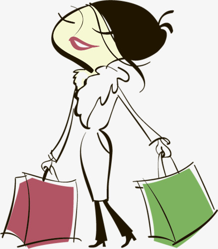 439x500 Cartoon Drawing Shopping Lady, Lady, Shopping, Cartoon Png Image
