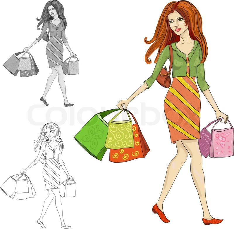 800x785 Drawing Of A Woman With Shopping Stock Vector Colourbox