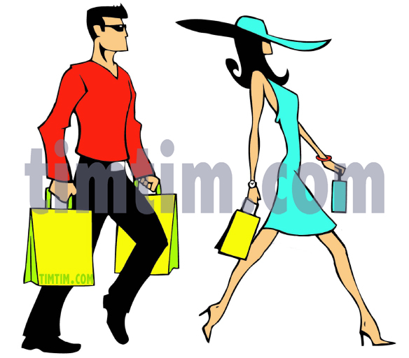 584x512 Free Drawing Of Couple Shopping From The Category Beauty Amp Fashion