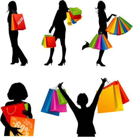 455x468 Hand Drawing Shopping Girls Vector Set Free Vector In Encapsulated