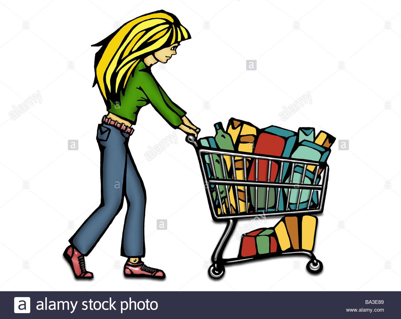 1300x1034 Illustration Manga Woman Young Blond Shopping Carts Graphics
