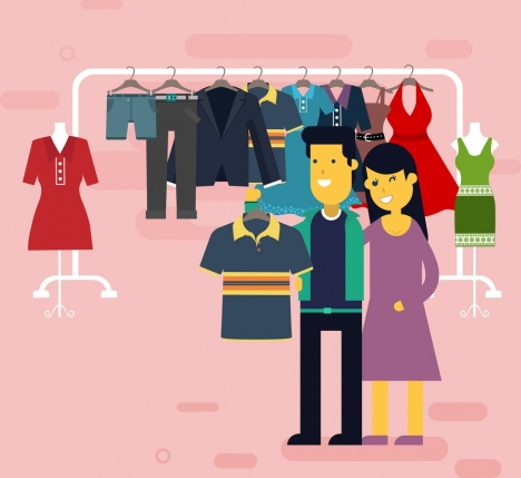 468x429 Shopping Drawing Couple Clothes Store Icons Colored Cartoon