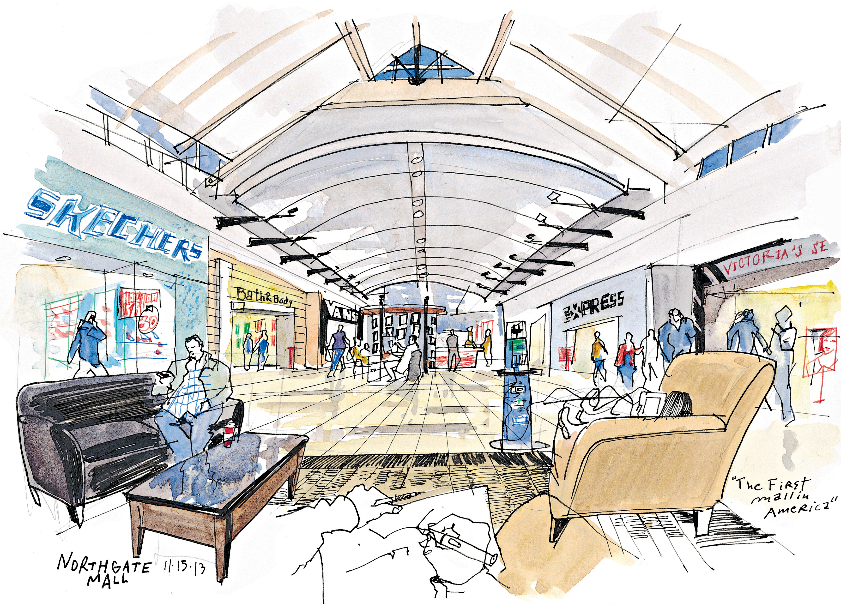 3503x2537 At The Forefront Of Shopping History Seattle Sketcher