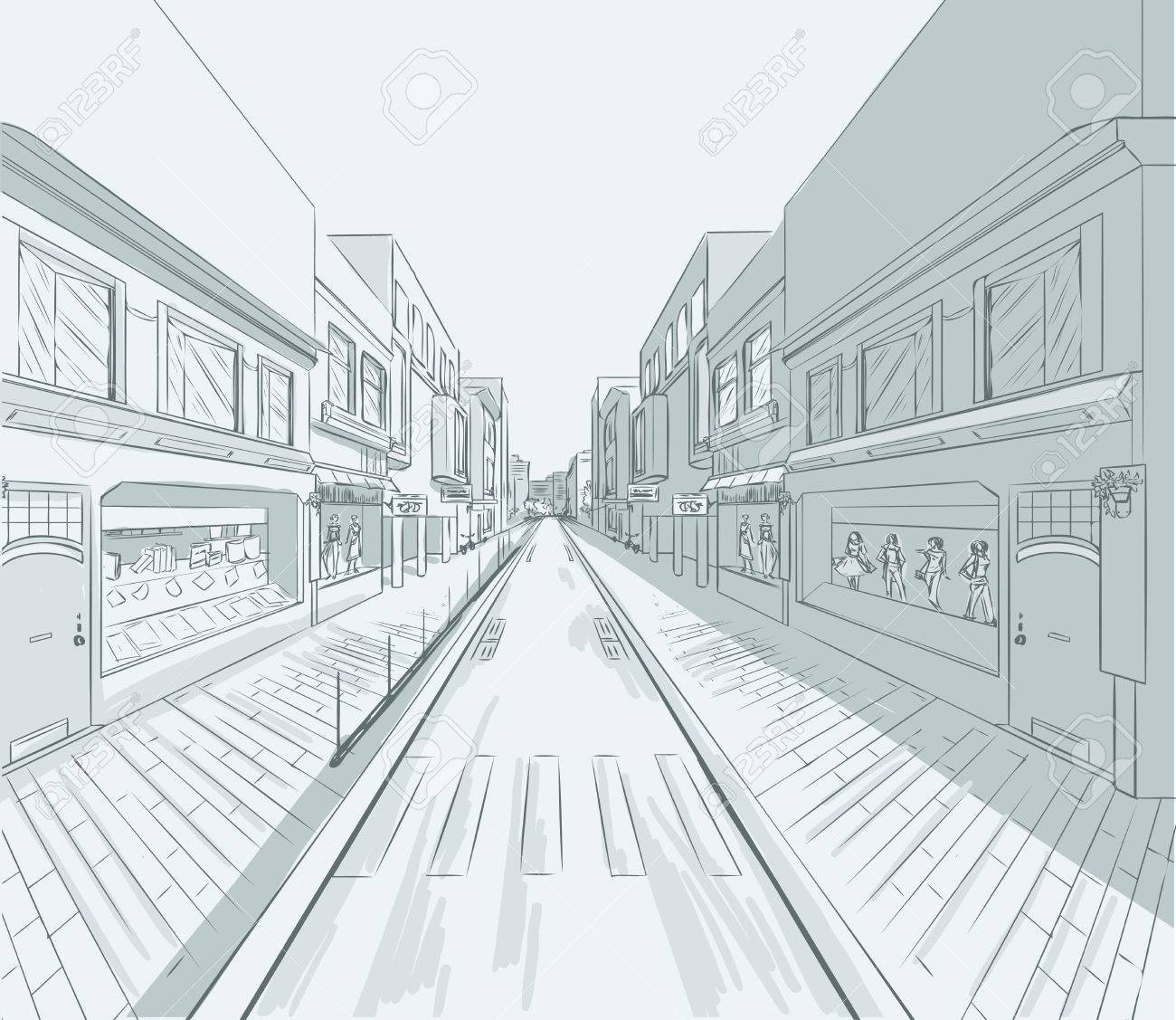 1300x1127 Sketch Of Urban Panorama. Part Of City District, Shopping Street
