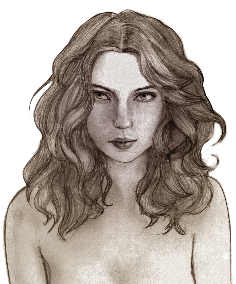 It is an image of Playful Short Curly Hair Drawing