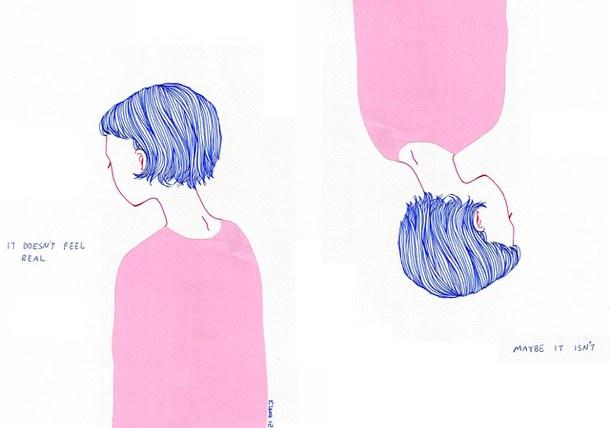 610x428 Art, Feelings, Grunge, Sad, Scetch, Blue Hair, Short Haired Girl