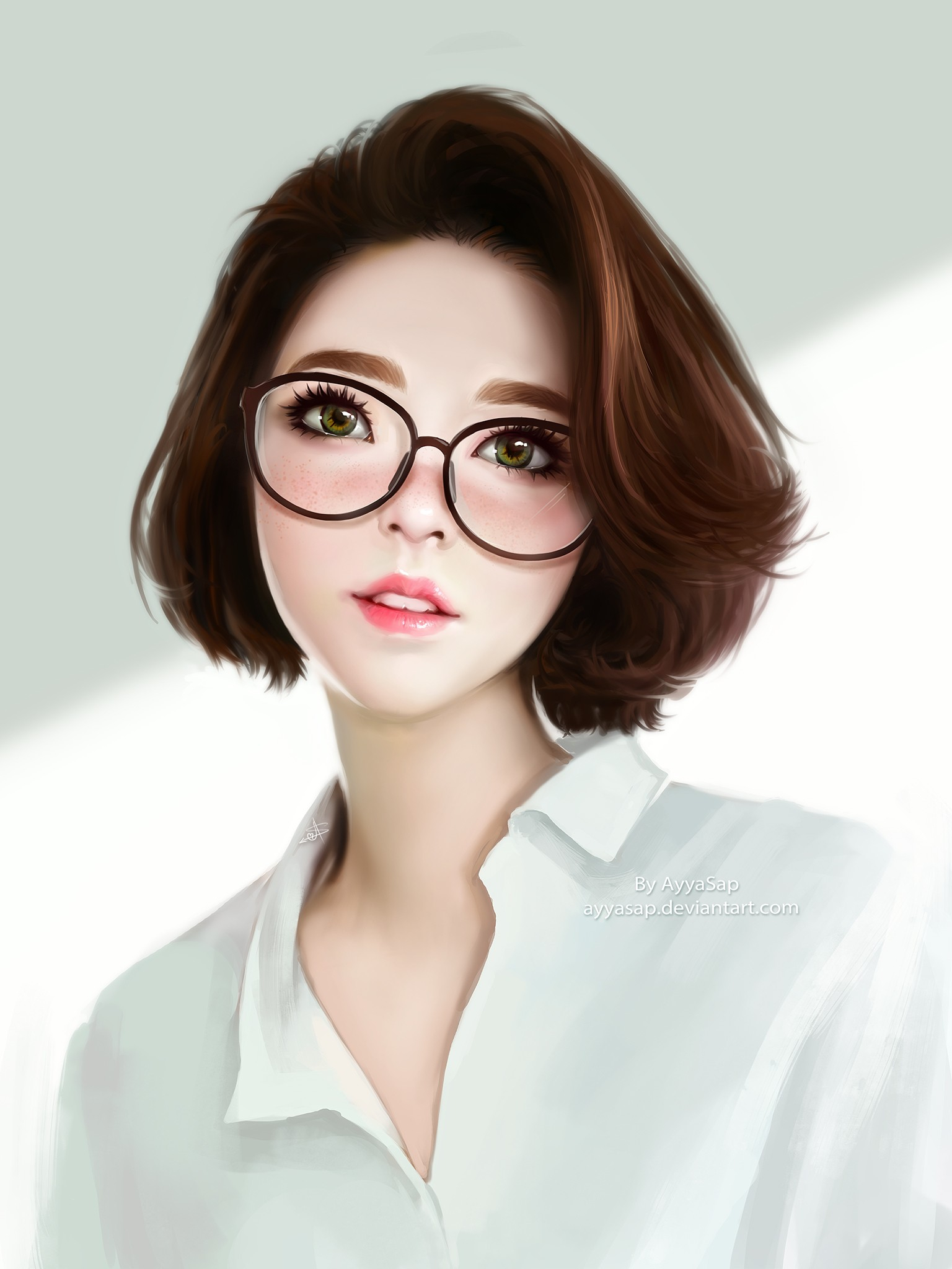 Drawing Girl With Glasses Short Hair
