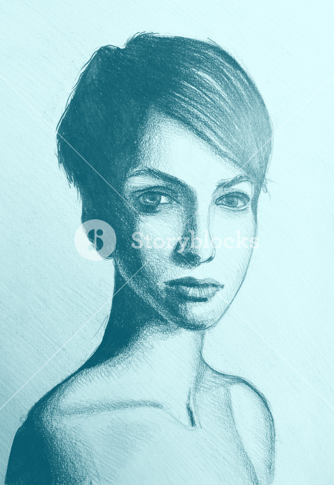 689x1000 Drawing, Portrait Of Beautiful Girl With Short Hair. Illustration