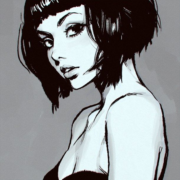 610x610 Short Hair Girl Drawing Tumblr Short Bob Hair. Poetry Amp Art