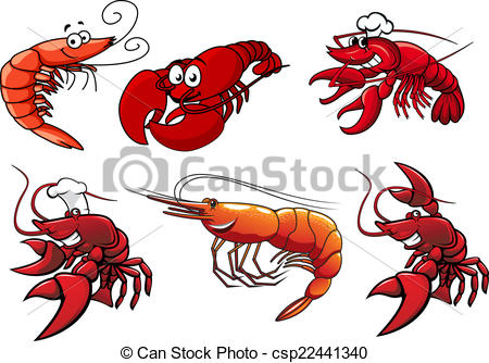 450x334 Seafood Characters Of Shrimp, Prawns And Lobsters. Cartoon Eps