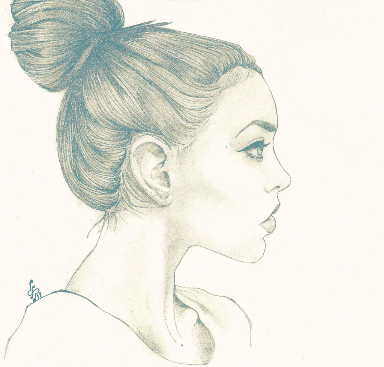 1280x1225 Drawing For Girls 2017 Girl Side Face Draw