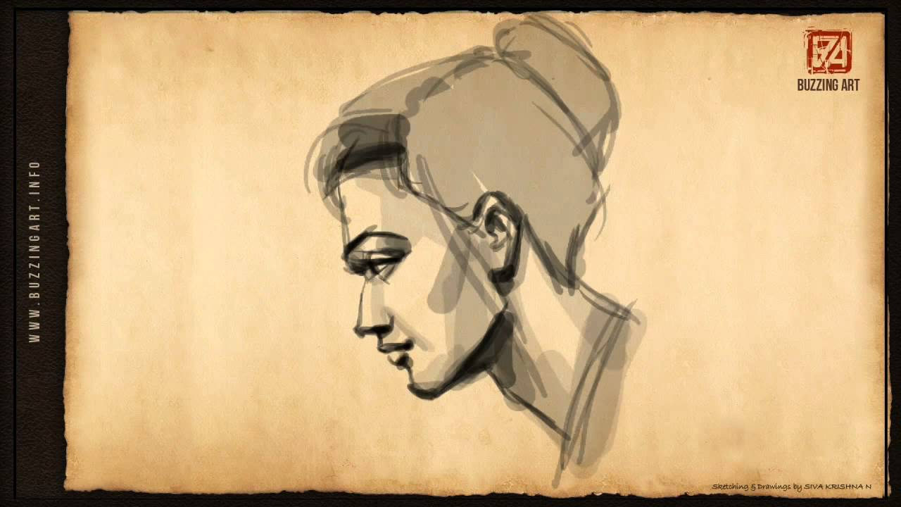 1280x720 How To Draw A Female Face Side Pose 01
