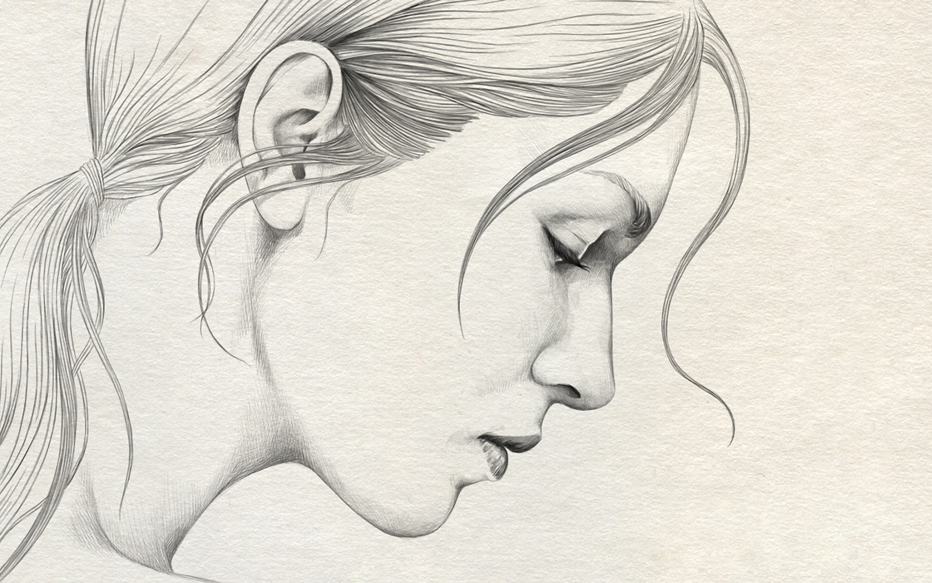 1920x1201 Pencil Sketch Girl Face Side Girl Side Face Pencil Drawing Pencil