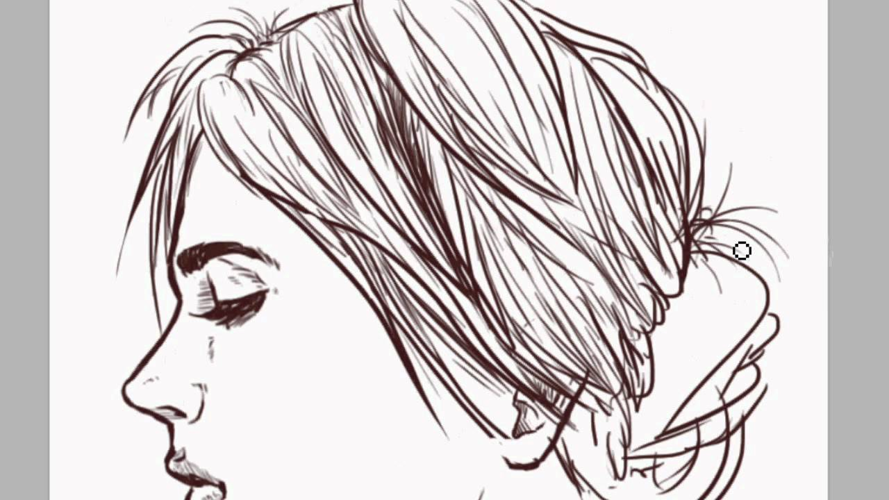1280x720 Simple Side Face Sketch Girl Side Face Draw Girls Face Drawing