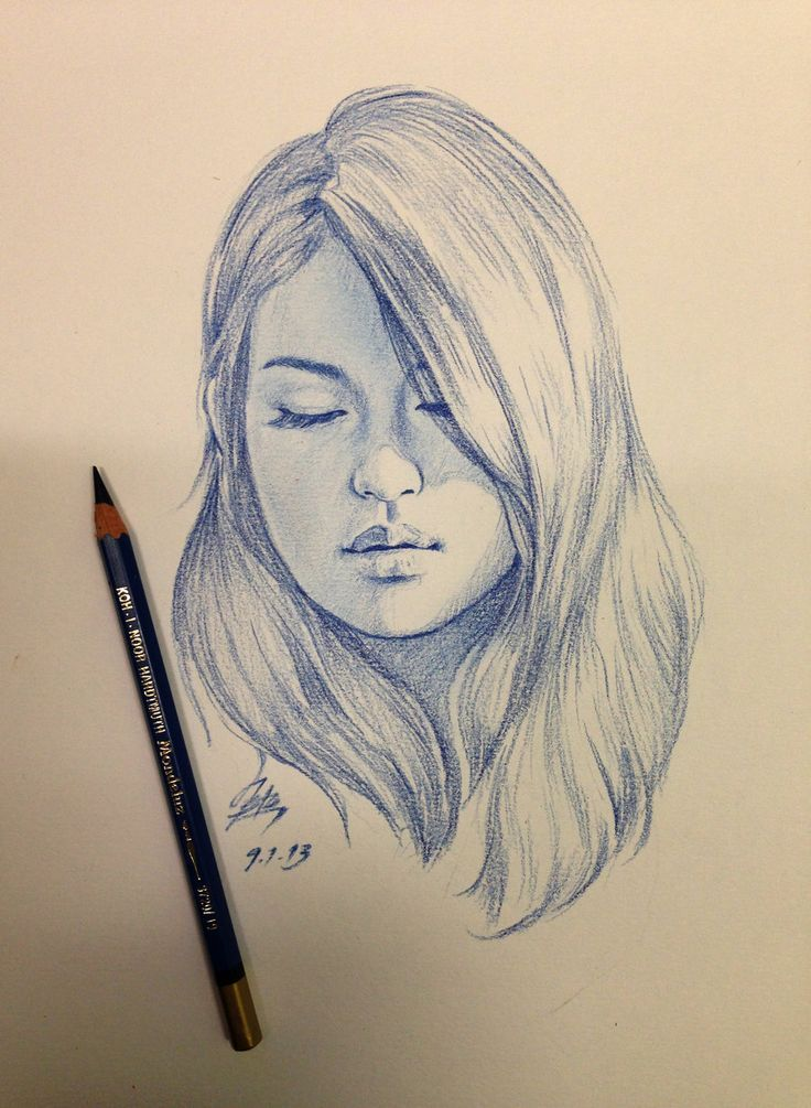 736x1005 Girl Side Face Drawing