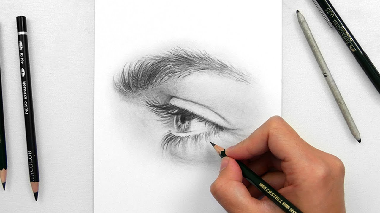 1280x720 Drawing A Realistic Eye Side View With Graphite Pencils