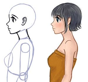 300x282 How To Draw Anime Side View