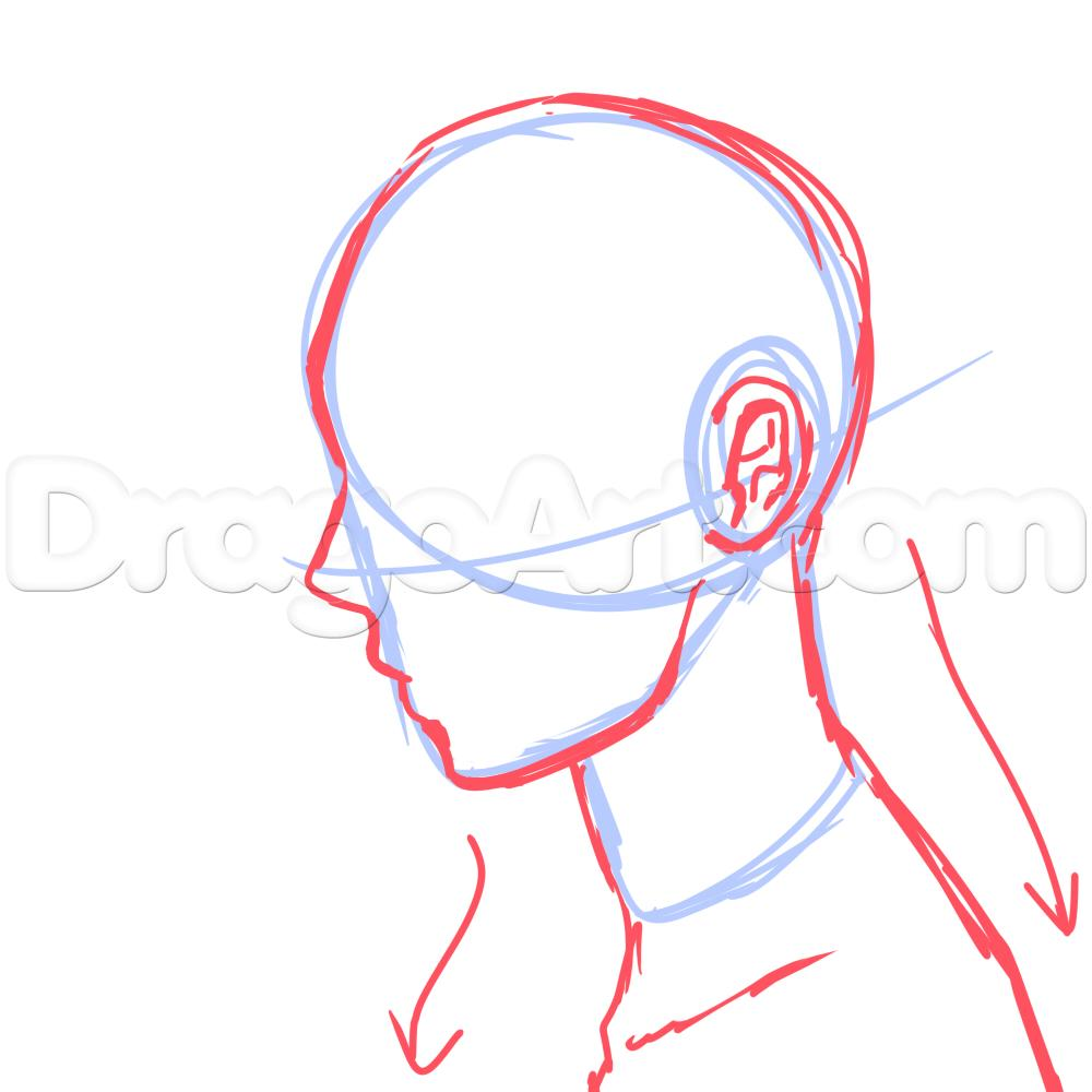 1000x1000 Side View Male Anime Face Drawing Tutorial Drawing Stuff