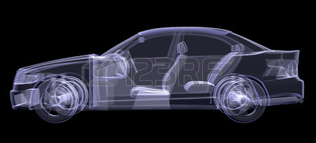 450x204 X Ray Of Car On Isolated Black Background, Side View Stock Photo