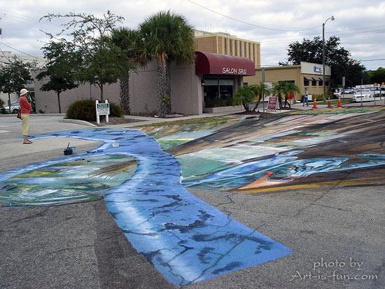 550x413 Sidewalk Chalk Drawings 3d Pavement Art And Anamorphic Street
