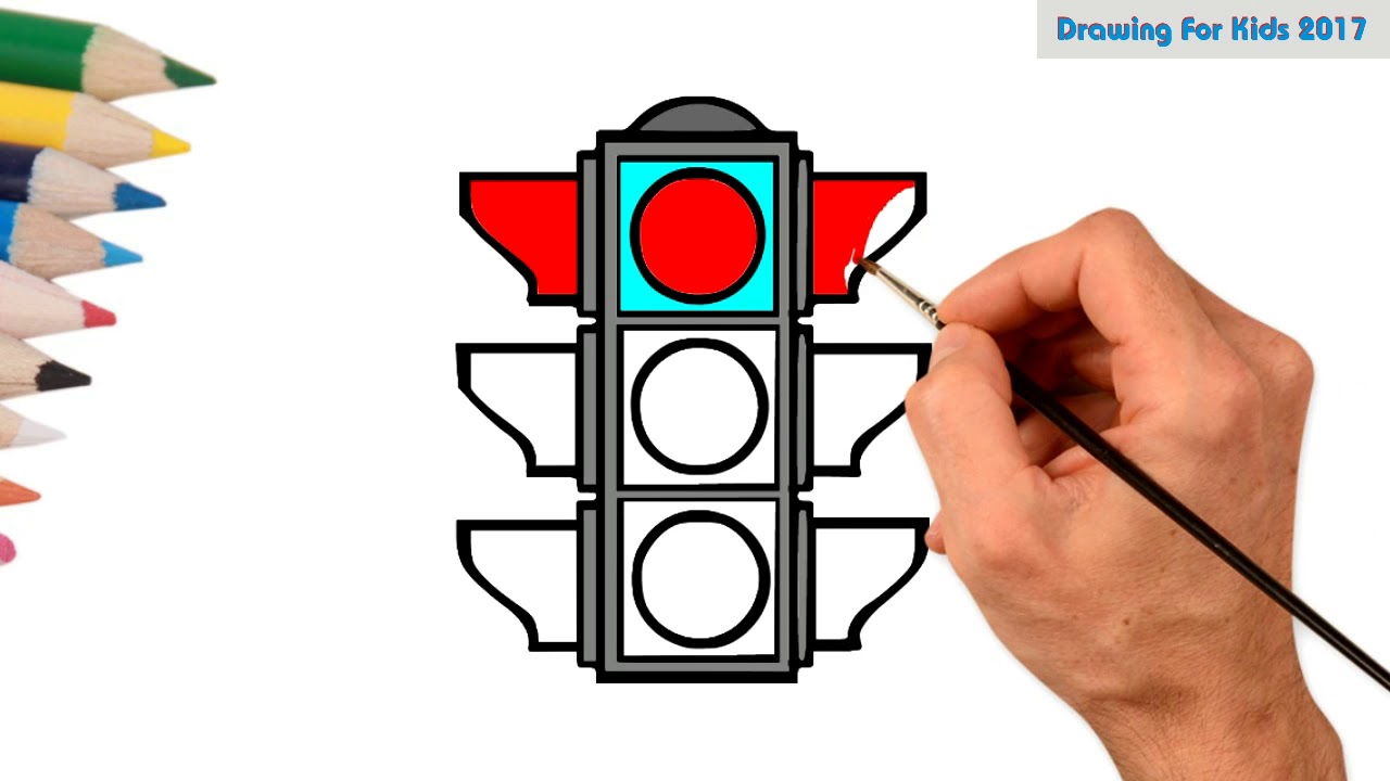 1280x720 How To Draw Traffic Light Signal For Kids Learn Drawing Traffic