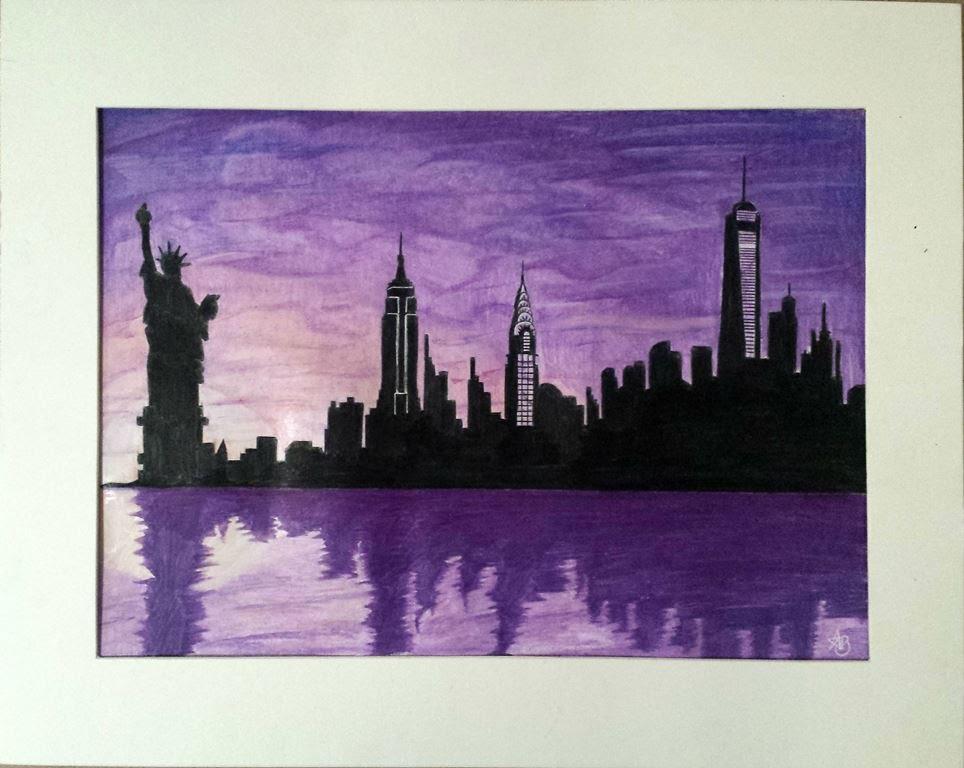 964x768 New York New York (Frank Sinatra) Skyline Silhouette Speed Drawing