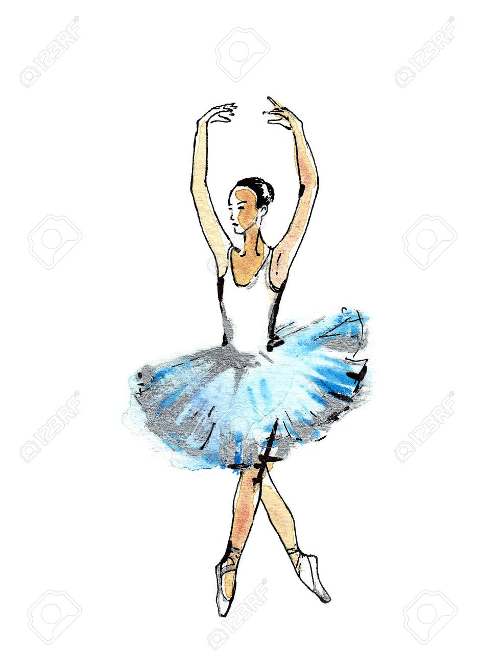 987x1300 Ballet Dancer, Handmade Black And Silver Drawing On A Blue