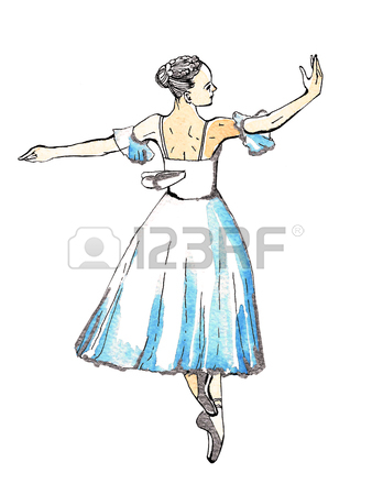 338x450 Ballet Dancer Doing Turns, Black And Silver Drawing On A Blue