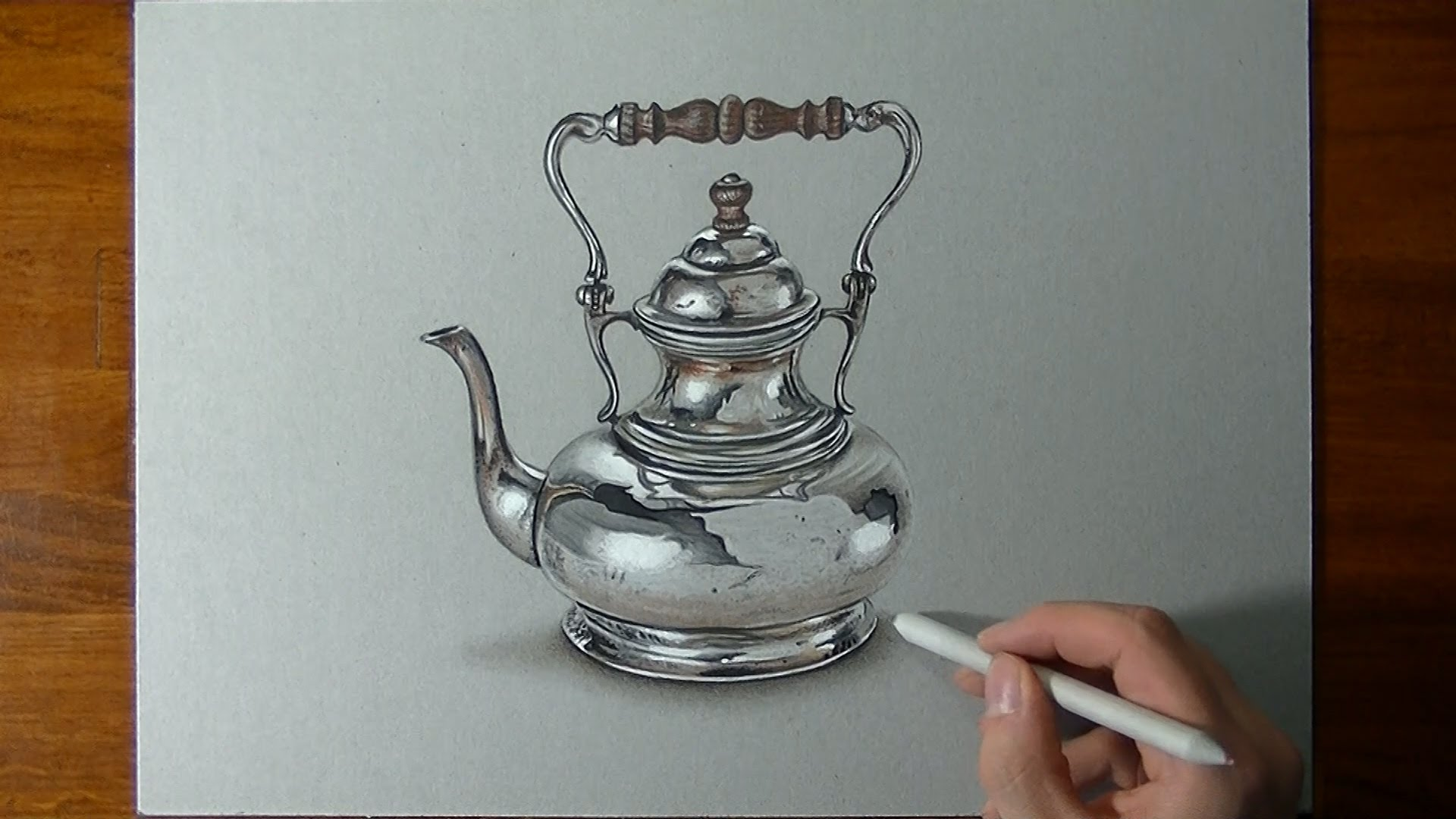 1920x1080 Drawing A Crazy Realistic Silver Teapot
