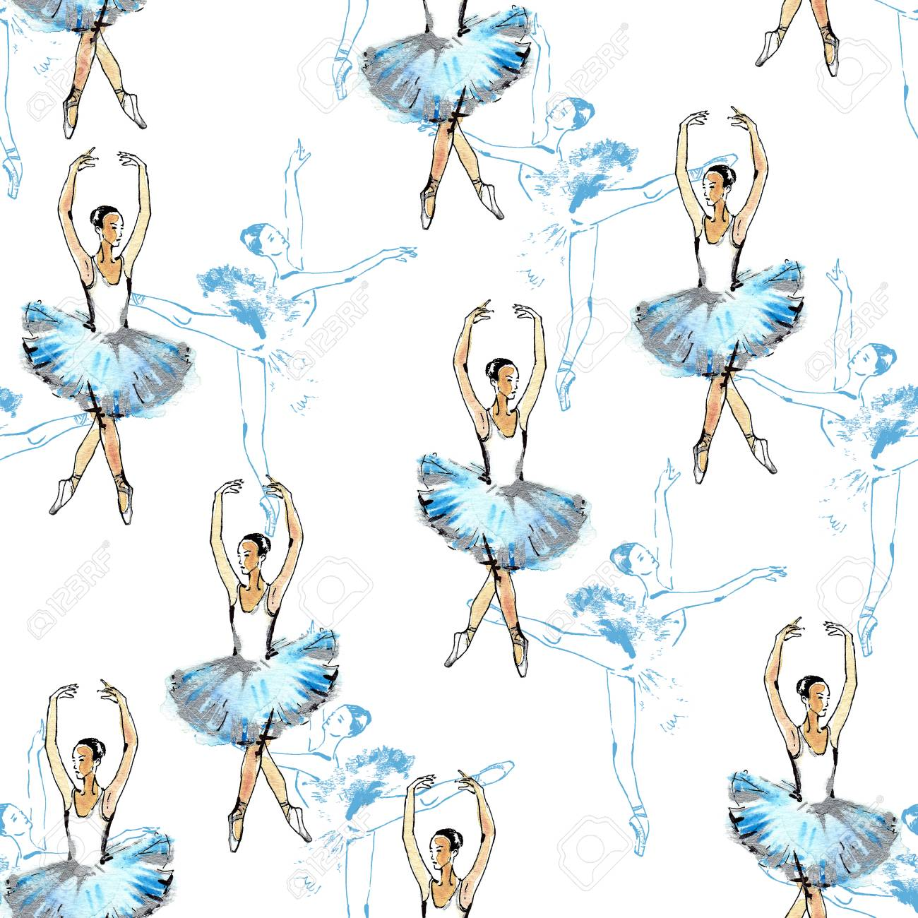 1300x1300 Seamless Pattern Of Ballet Dancers, Black, Blue And Silver Drawing
