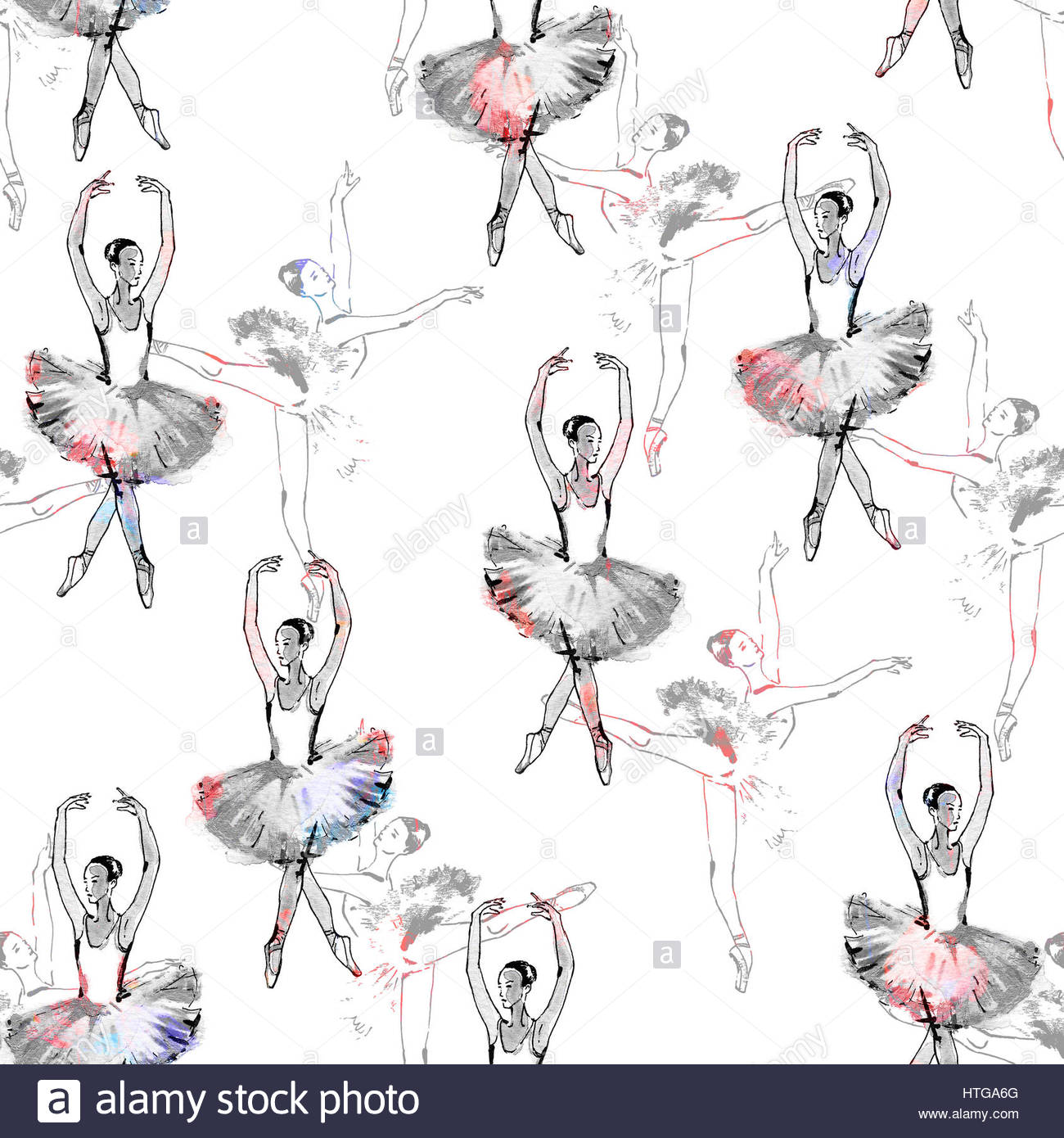 1300x1390 Seamless Pattern Of Ballet Dancers, Black And Silver Drawing Stock