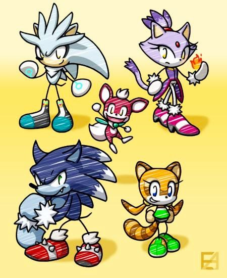 450x550 Pen Doodle. Blaze The Cat, Silver The Hedgehog, Marine The Raccoon