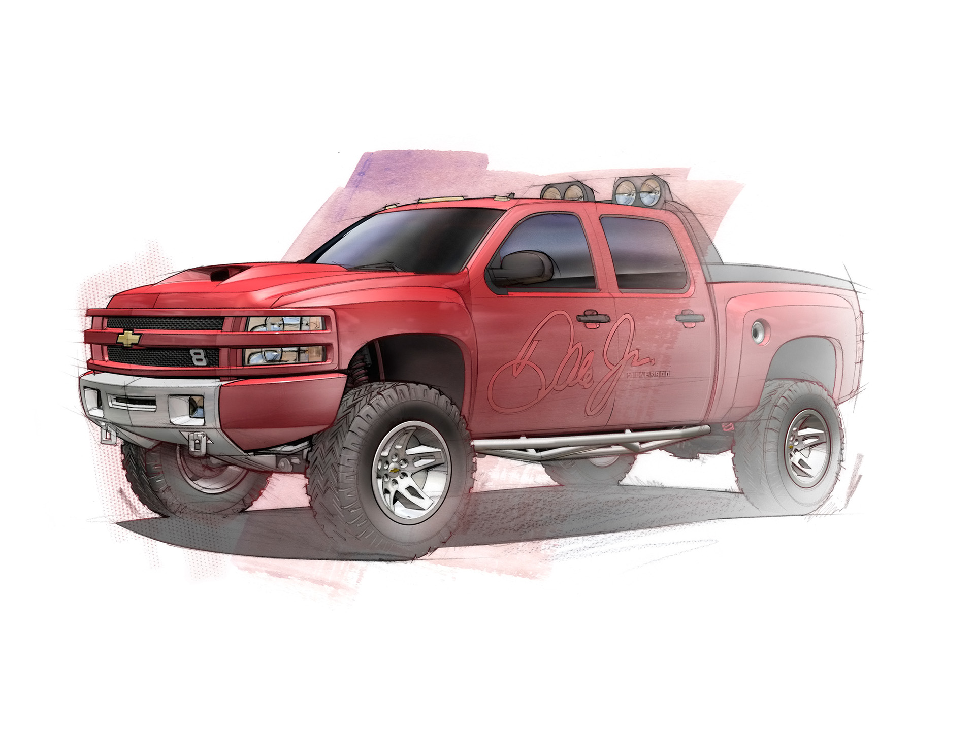 1920x1440 2007 Dale Earnhardt Jr Big Red Chevrolet Silverado Concept