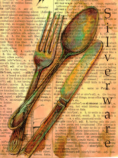 240x320 Mixed Media Silverware Drawing On Distressed Dictionary Page My