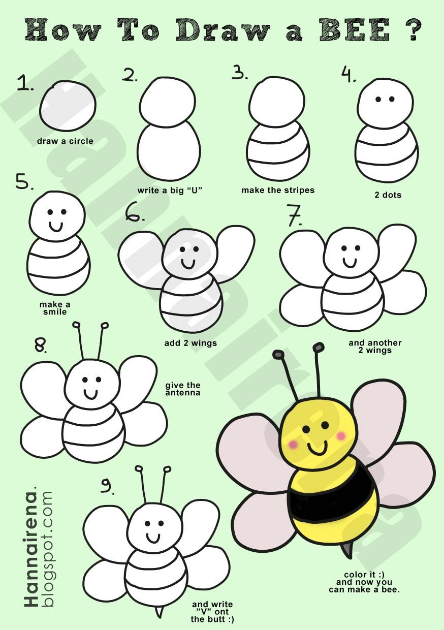 874x1240 How Draw A Simple Bee How to draw a bee.jpg Art How
