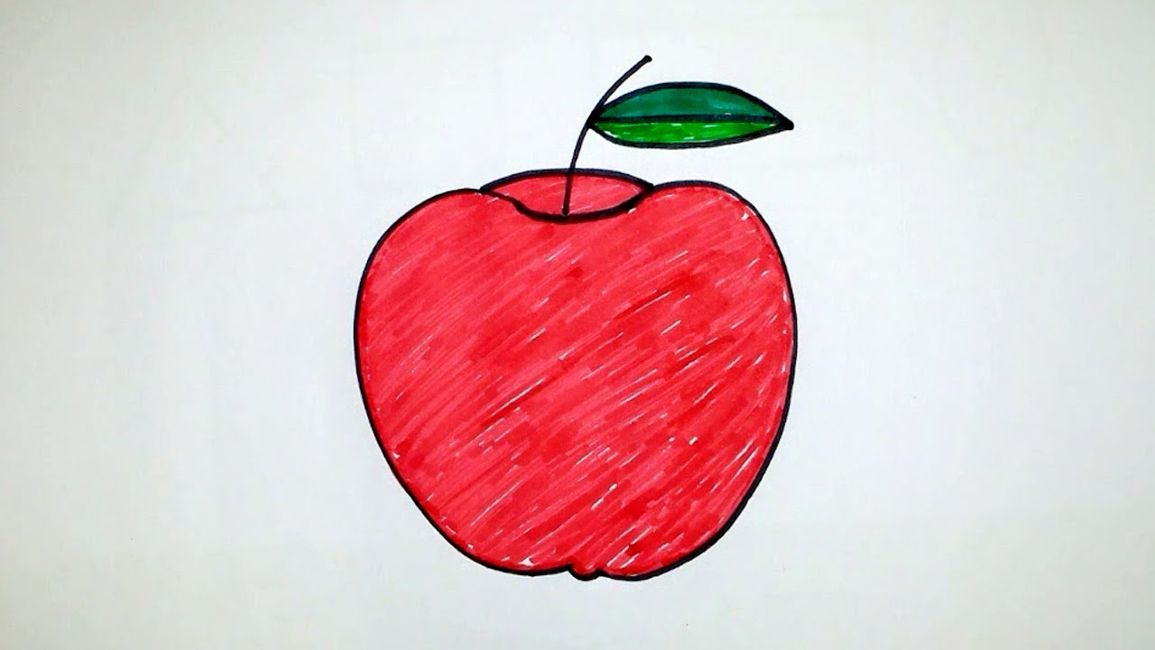 1280x720 Apple Drawing For Kids Apple Character Fruits Coloring Pages