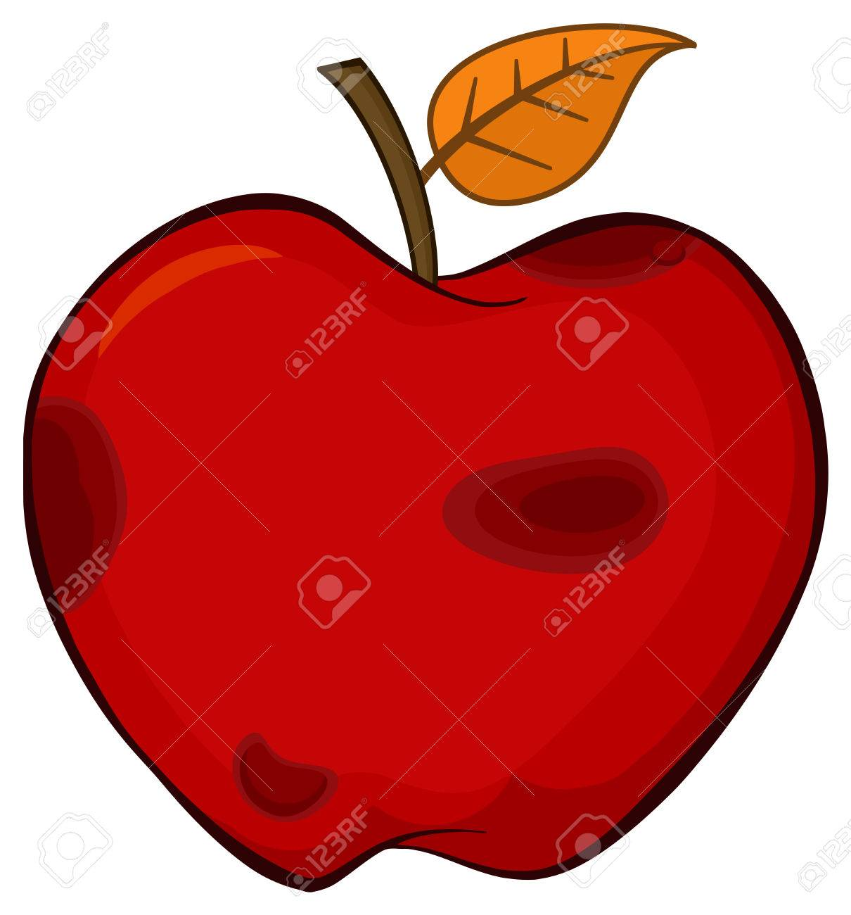 1210x1300 Rotten Red Apple Fruit With Leaf Cartoon Drawing Simple Design
