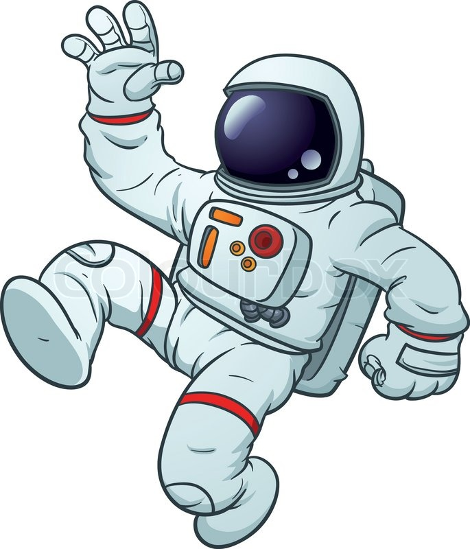 685x800 Cartoon Astronaut Floating. Vector Illustration With Simple