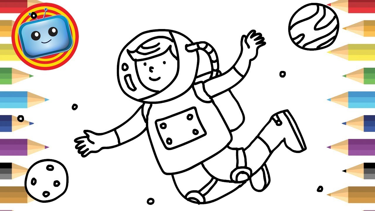 1280x720 How To Draw An Astronaut Colouring Book Simple Drawing Game
