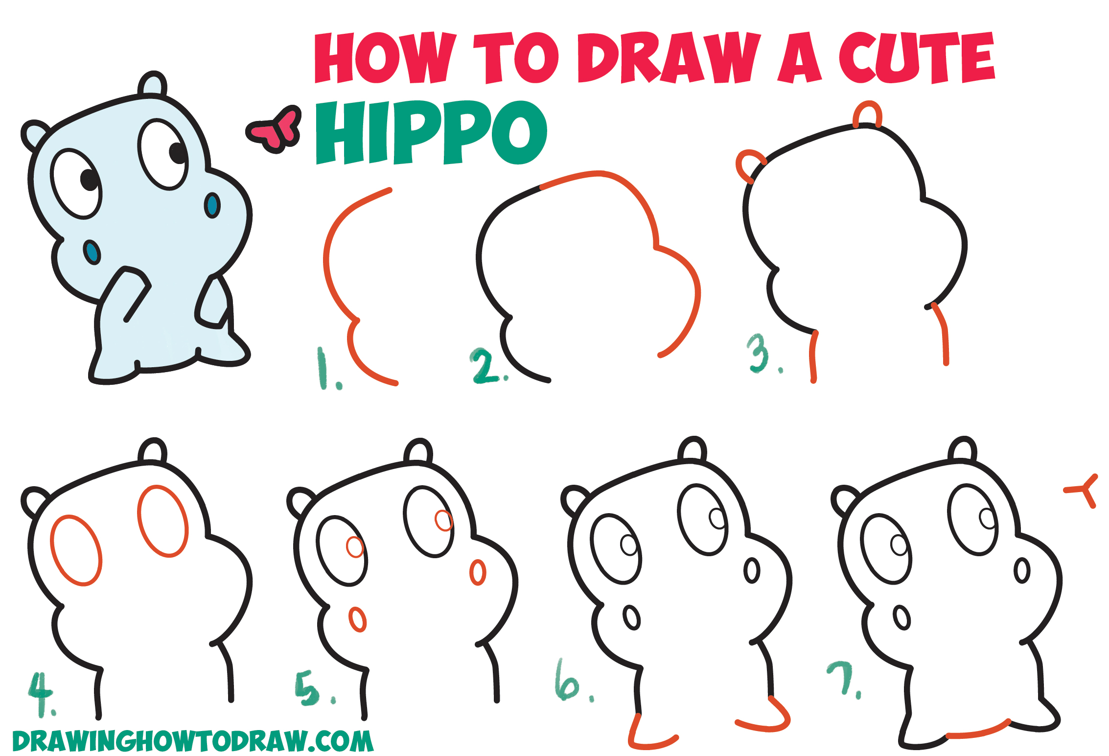 2266x1544 How To Draw A Cute Cartoon Baby Hippo And Butterfly Easy Step By