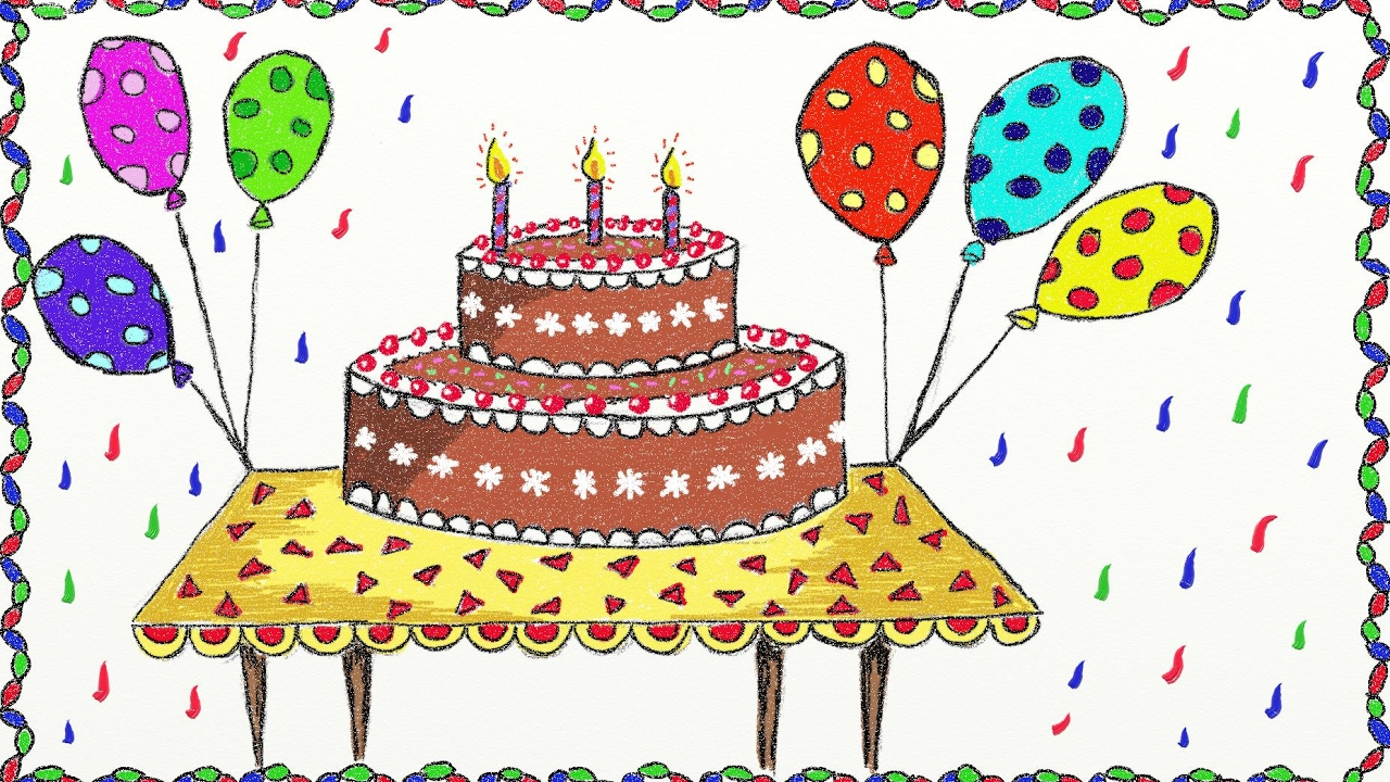 How To Draw A Birthday Cake.Simple Birthday Cake Drawing At Getdrawings Com Free For