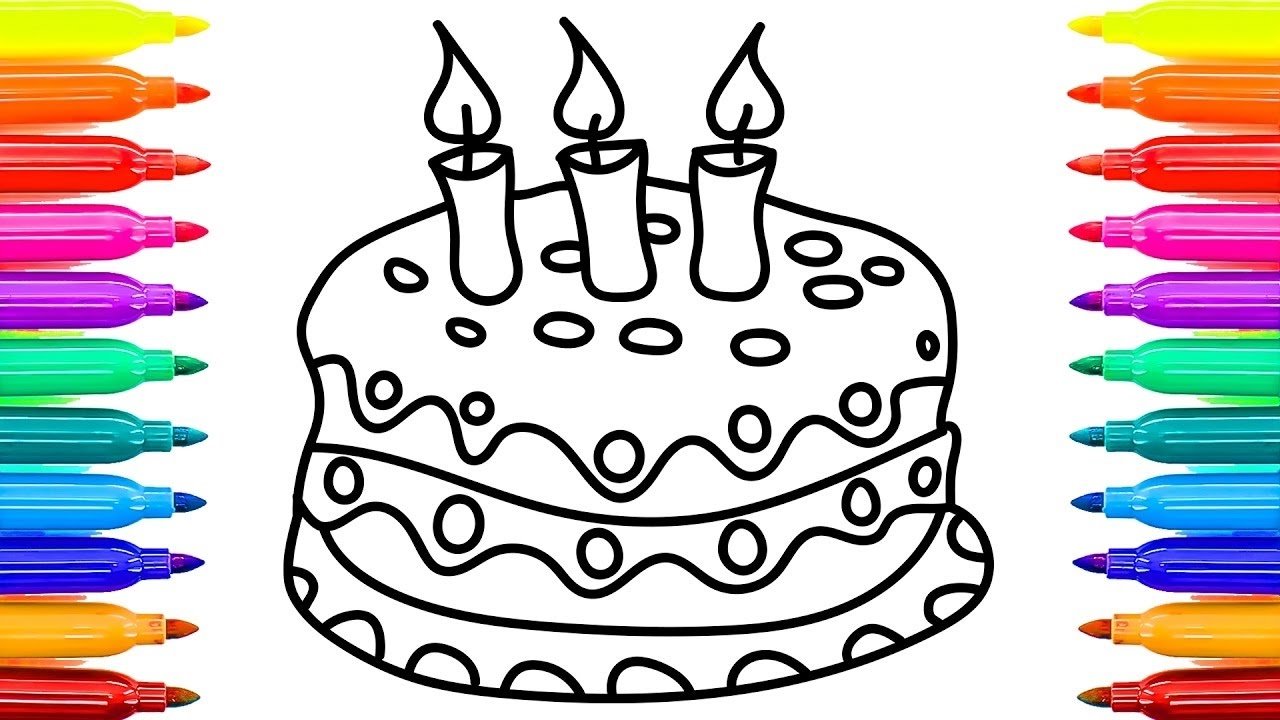 1280x720 How To Draw Simple Birthday Cake Colouring Videos For Kids