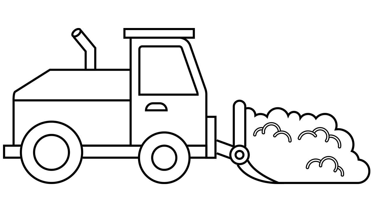 1280x720 Simple Drawing Car And Construction Truck For Kids Learn Colors
