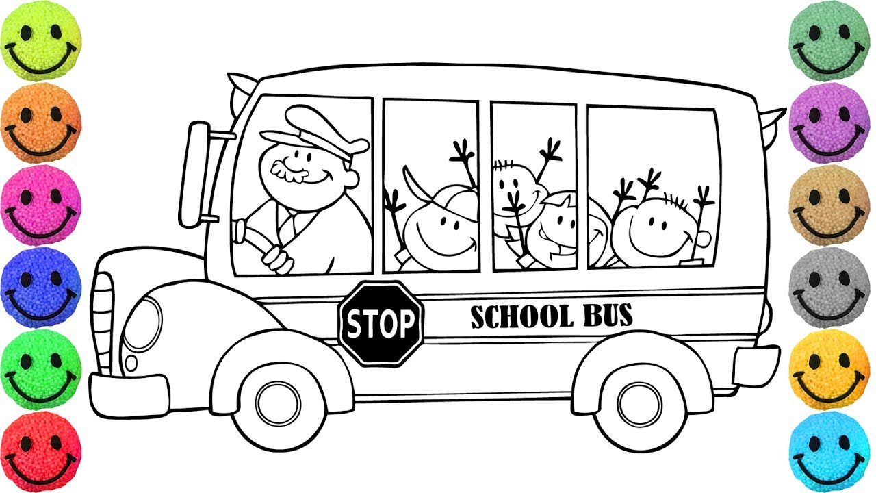 1280x720 Simple School Bus Pictures To Color Transportation Coloring Pages