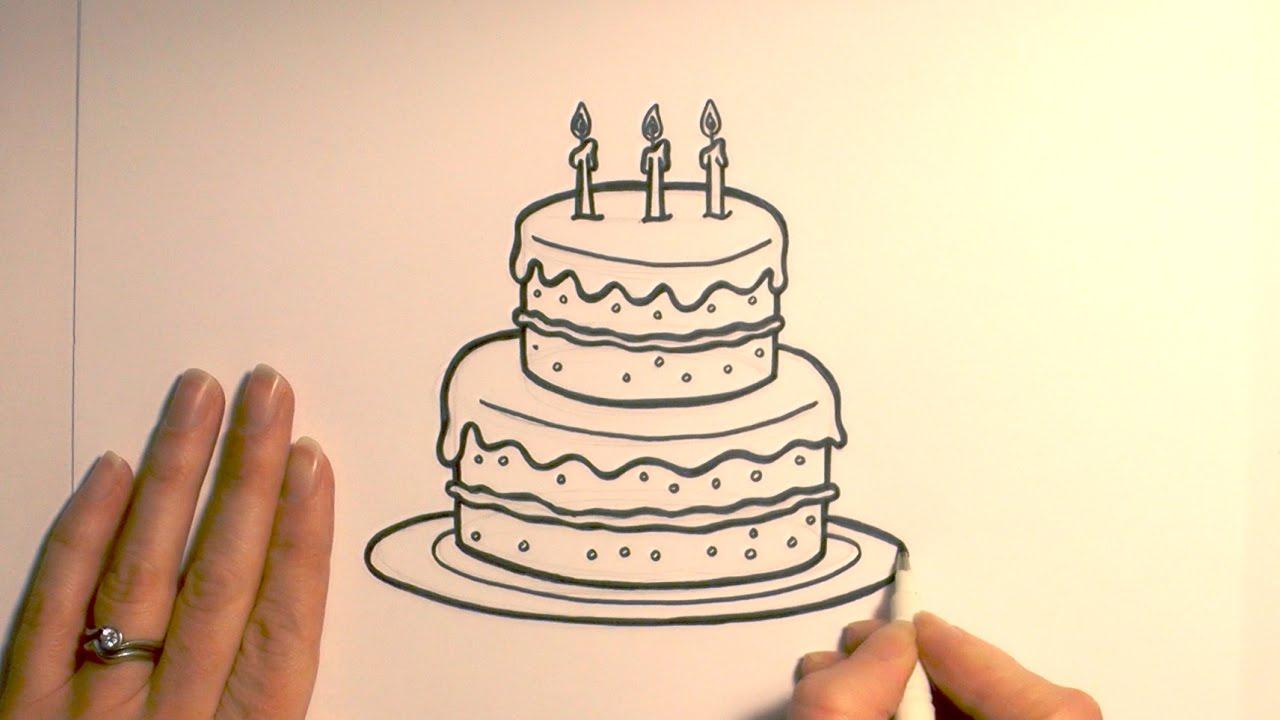 1280x720 Simple Birthday Cake Drawing How To Draw A Cartoon Birthday Cake