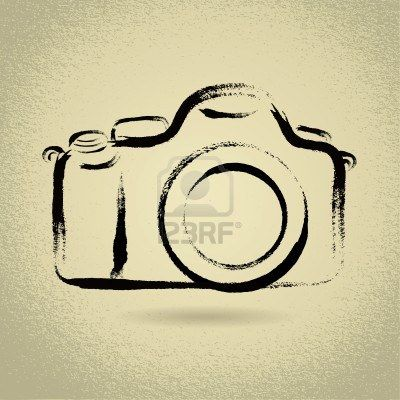 400x400 Dslr Camera Illustration With Brushwork Stock Photo