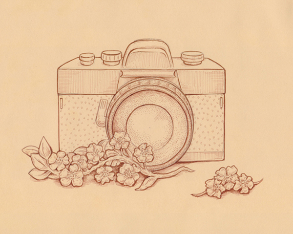 600x479 How To Draw A Vintage Camera With Sepia Ink Liners On Toned Paper