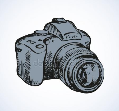 450x420 Realistic Ink Hand Drawn Vector Digital Camera Icon, Simple Hand