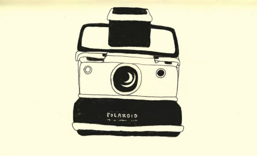500x305 Line Drawing Polaroid Camera Love The Strikingly Simple Graphic