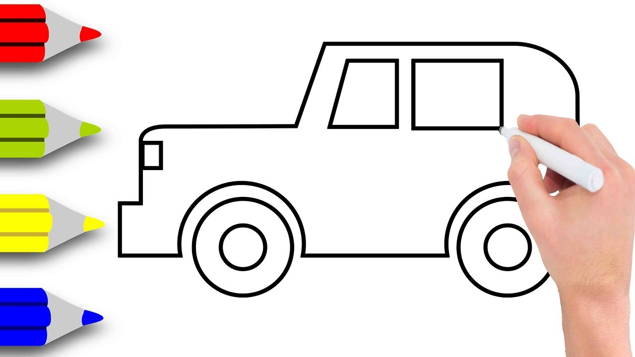 1280x720 How To Draw Car Step By Step Learn Drawing A Small Car Very Easy